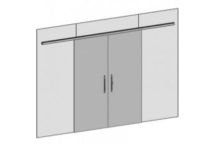 FLO BF01 kétszárnyú, üvegfalba építhető tolóajtó-szett